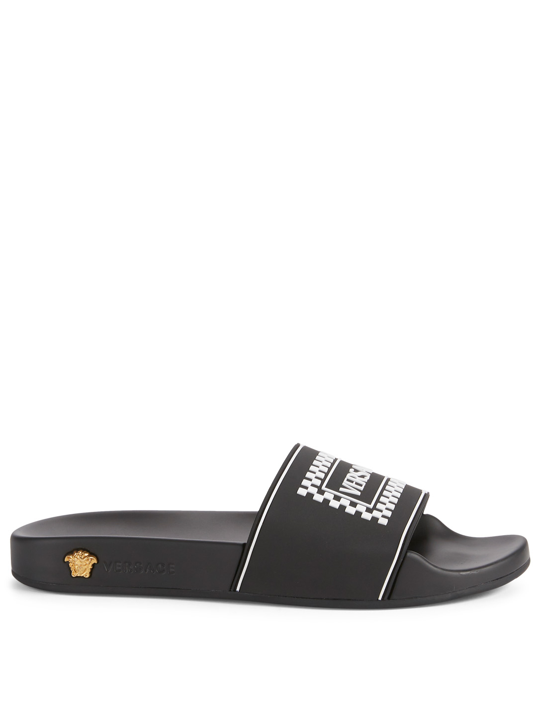 VERSACE Vintage Logo Leather Slides Womens Black