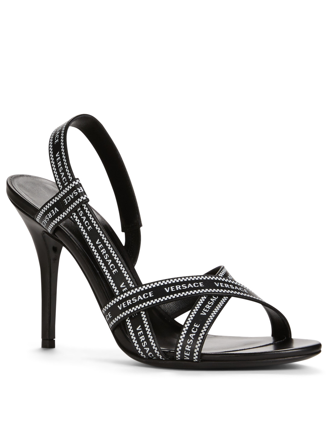 5611a0d99f ... VERSACE Nastro Versace Leather Heeled Sandals Women's Black ...