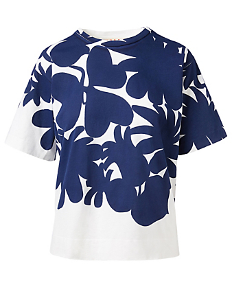 MARNI T-Shirt In Floral And Stripe Print Women's Blue
