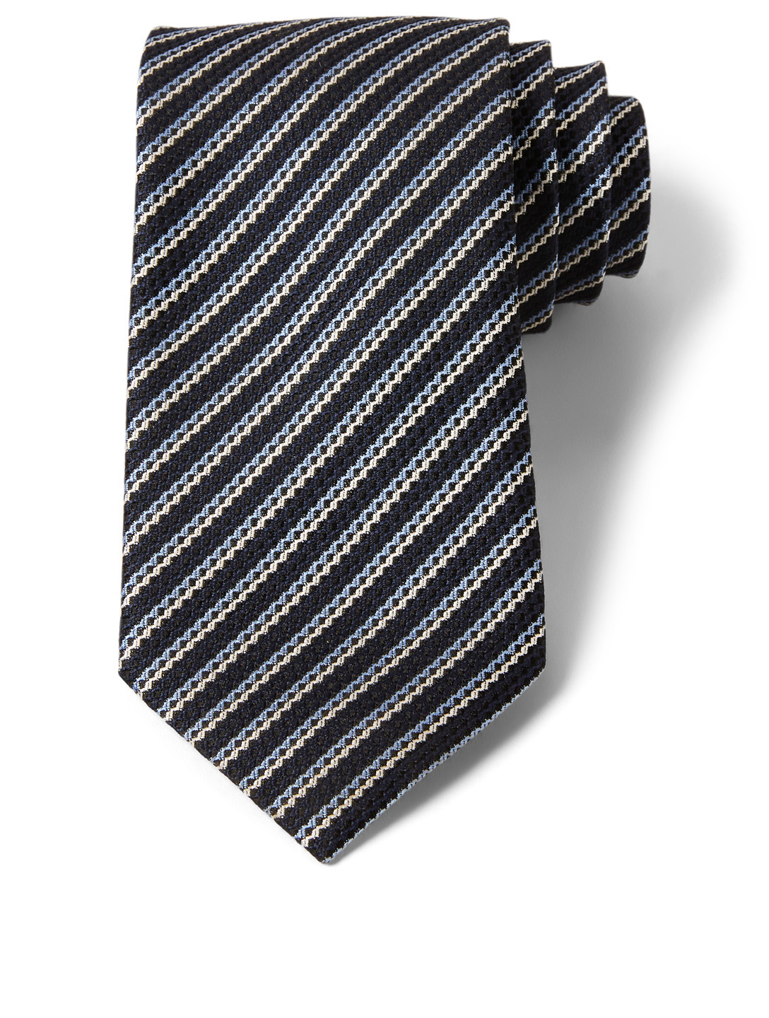 ERMENEGILDO ZEGNA Striped Silk Tie Men's Blue