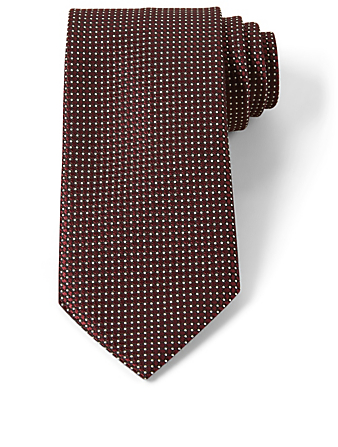 ERMENEGILDO ZEGNA Silk Tie In Square Neat Pattern Men's Brown