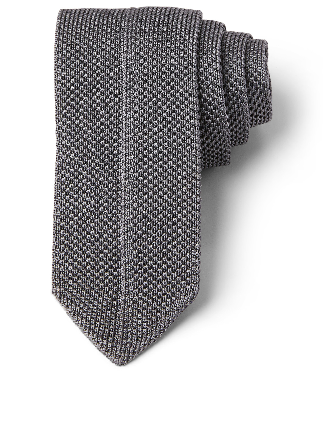 ERMENEGILDO ZEGNA Silk Knit Tie Men's Grey