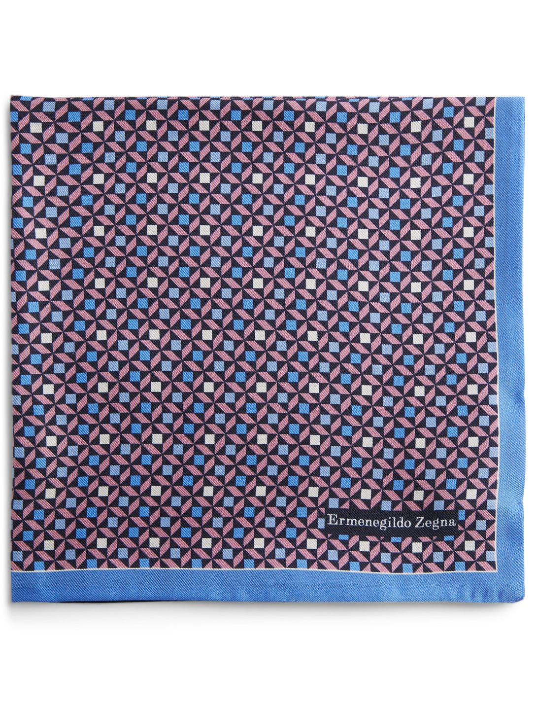 ERMENEGILDO ZEGNA Silk Printed Pocket Square Men's Blue
