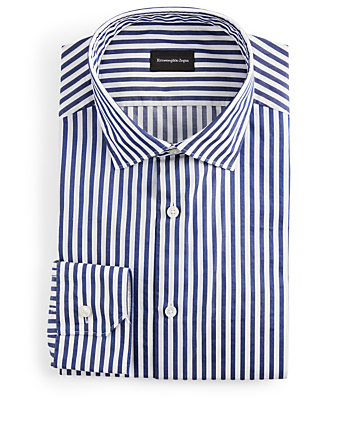 ERMENEGILDO ZEGNA Striped Dress Shirt Men's Blue