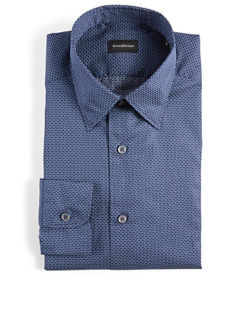 ERMENEGILDO ZEGNA Dress Shirt In Geo Print Men's Blue