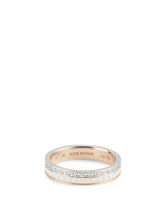BOUCHERON White Edition Quatre White And Rose Gold Wedding Band With Ceramic And Diamonds Women's Metallic