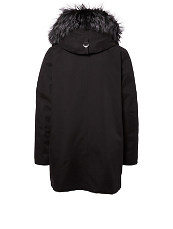49 WINTERS Clifton Dual-Layer Down Parka With Fur Hood Men's Black