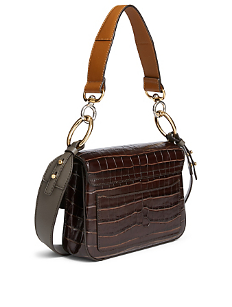 CHLOÉ Small Chloé C Croc-Embossed Leather Double Carry Bag Women's Brown