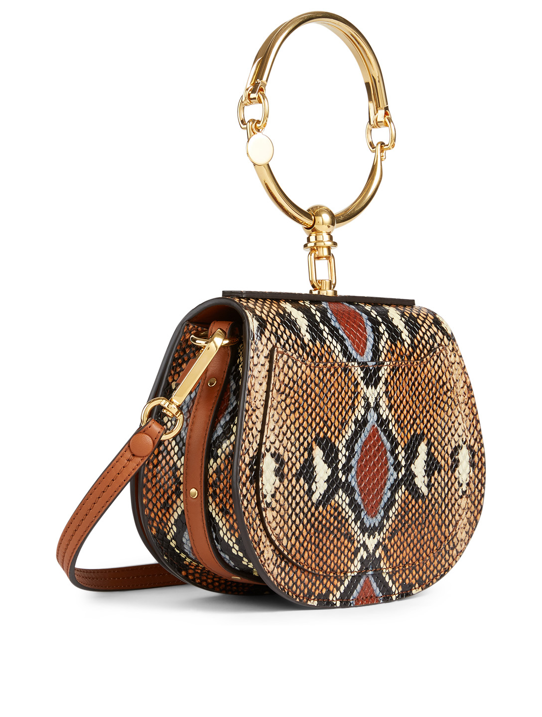 CHLOÉ Small Nile Leather Bag In Snake Print Women's Neutral