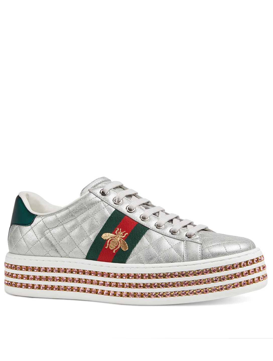 97cb7c31f ... GUCCI Ace Leather Platform Sneakers With Crystals Designers Silver ...