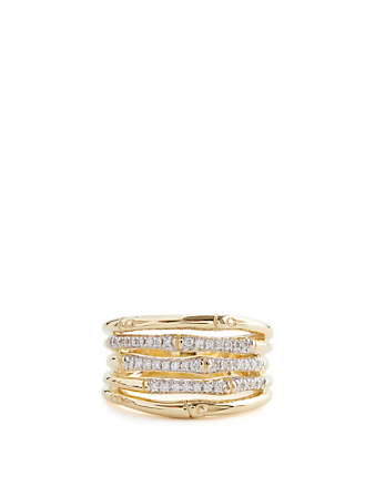 JOHN HARDY Bamboo 18K Gold Ring With Diamonds H Project Gold