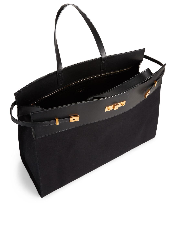 5210e8ab332 ... SAINT LAURENT Large Manhattan Canvas Shopper Tote Bag Women's Black