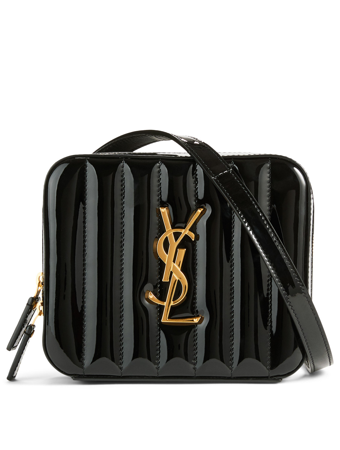 SAINT LAURENT Vicky YSL Monogram Patent Leather Belt Bag Women's Black