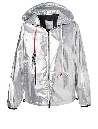 MONCLER Mikael Metallic Coated Cotton Jacket Womens Silver