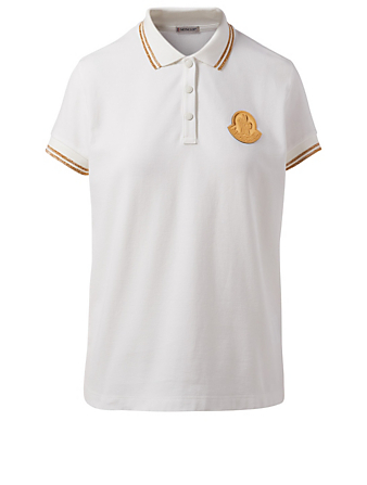 MONCLER Polo Shirt With Lurex Stripe Detail Women's White