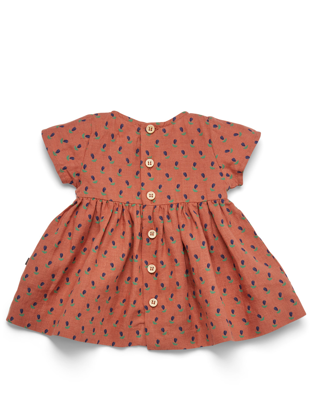 OEUF Short Sleeve Linen Dress In Tulip Print H Project Bronze