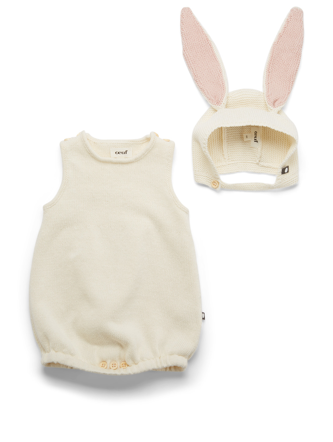OEUF Bunny Knit Romper And Hat Set H Project White