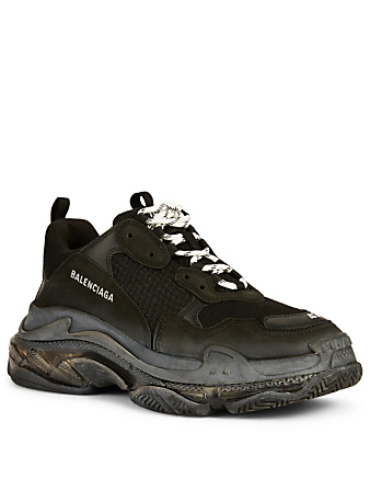 BALENCIAGA Triple S Bubble Mesh And Leather Sneakers Men's Black