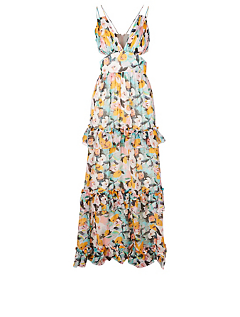 AMUR Drew Silk Chiffon Gown In Floral Print H Project Multi