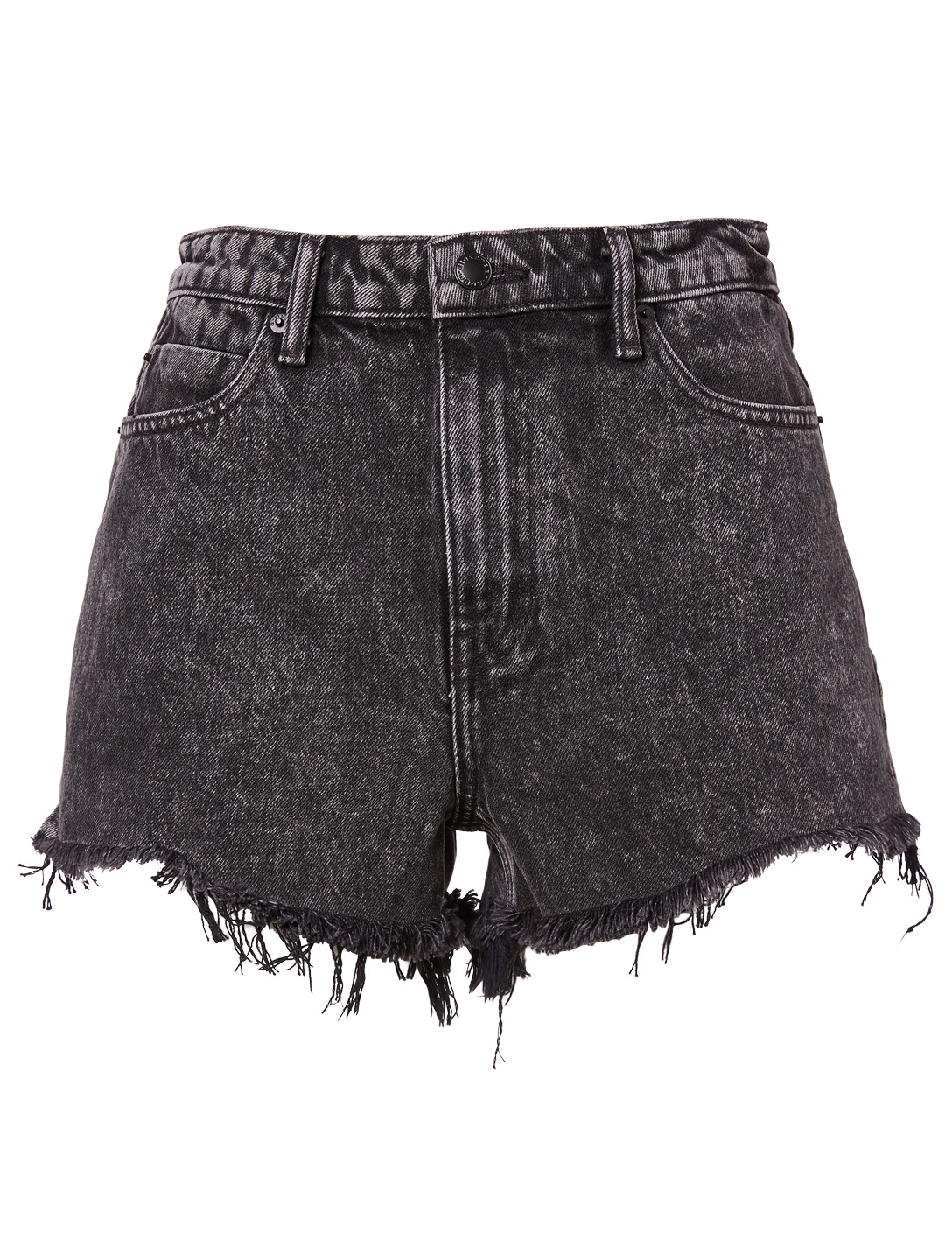 ALEXANDERWANG.T Bite High-Rise Denim Shorts With Fray Women's Grey