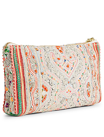 JADE TRIBE Panada Embroidered Clutch With Puka Shell Tassel H Project Pink