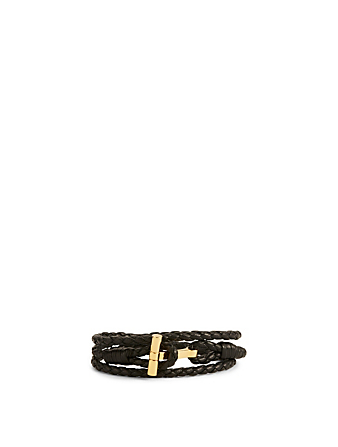 TOM FORD Braided Leather Bracelet Men's Gold