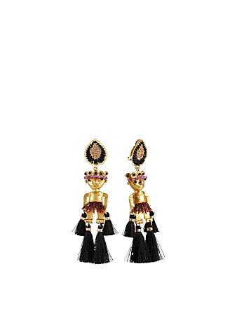 MERCEDES SALAZAR Shaman Gold Plated Sapphire Drop Earrings H Project Multi