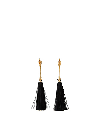 MERCEDES SALAZAR Bird Gold Plated Drop Earrings H Project Black