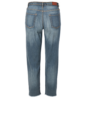 OUTLAND DENIM Jean girlfriend Abigail en patchwork Projet H Bleu