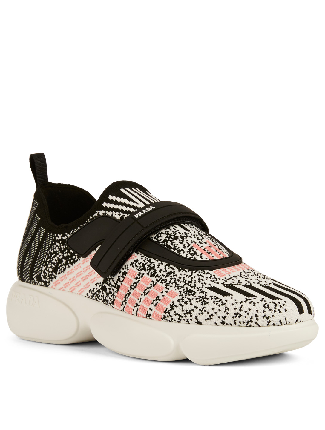 PRADA Cloudbust Geometric Knit Sneakers Designers White