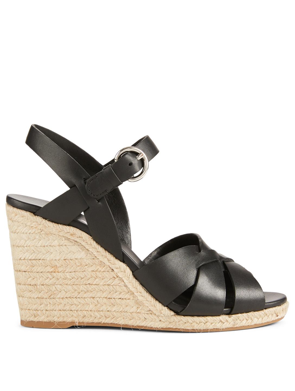 2a10dad78e0e PRADA Leather Espadrille Wedge Sandals
