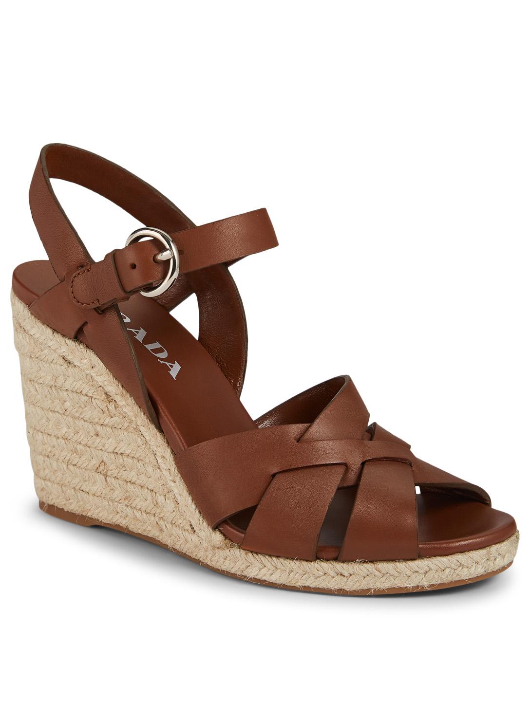 e150725acba PRADA Leather Espadrille Wedge Sandals | Holt Renfrew