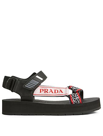 57d45355af7d PRADA. Logo Nomad Sandals