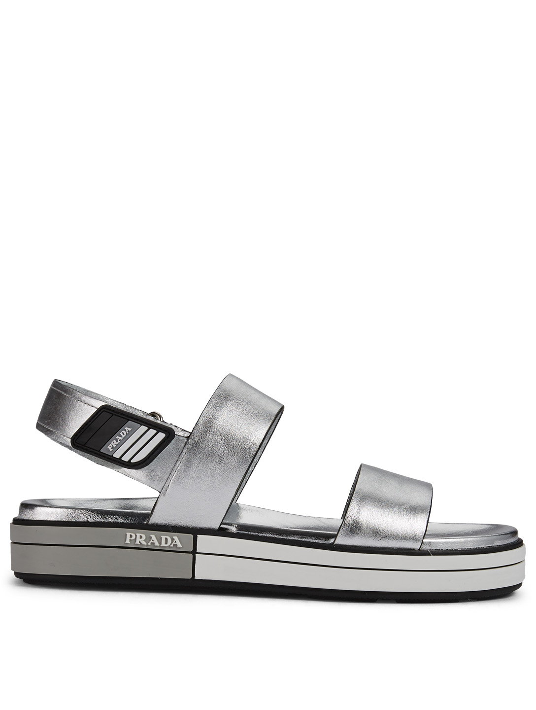 69e9aa78dbe PRADA Metallic Leather Sandals Women s Silver ...