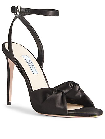PRADA Satin Heeled Sandals Designers Black