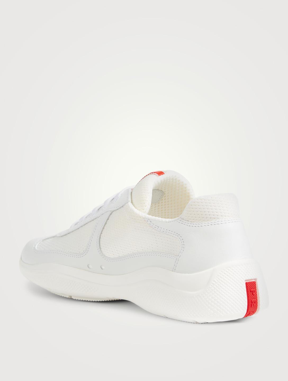 6f115e4c085 ... PRADA America s Cup Leather And Mesh Sneakers Designers White ...