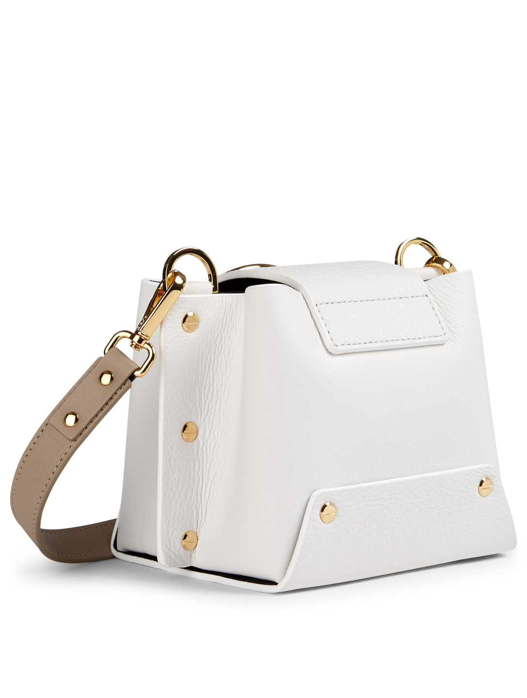 YUZEFI Mini Delila Leather Crossbody Bag Women's White
