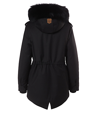 MACKAGE Chara Down Coat With Silver Fox Hood Women's Black