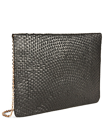 KAYU Capri Straw Envelope Clutch With Agate Clasp H Project Black