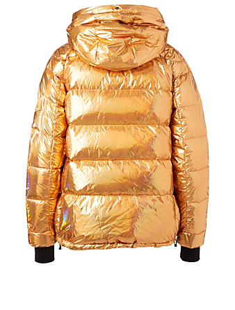 49 WINTERS Kensington Boxy Down Metallic Puffer Jacket Designers Gold