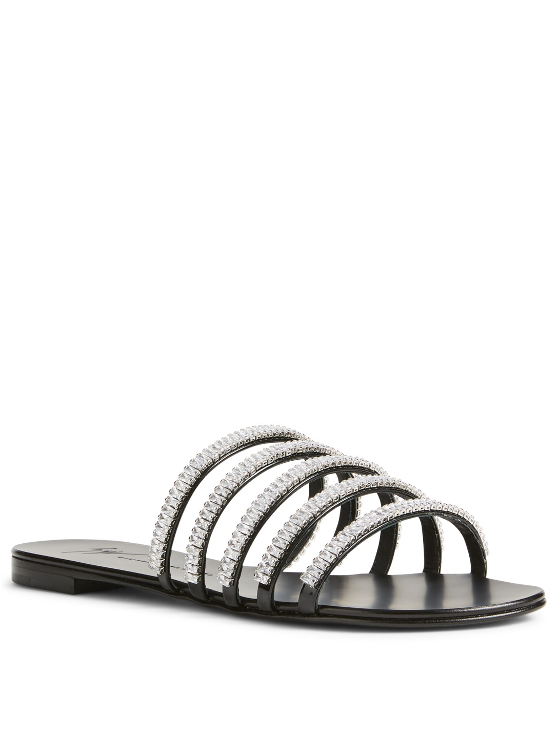 GIUSEPPE ZANOTTI Michela Metallic Leather Crystal Sandals Womens Black