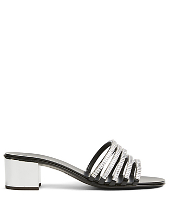 GIUSEPPE ZANOTTI Paula Metallic Leather Crystal Heeled Sandals Womens Black