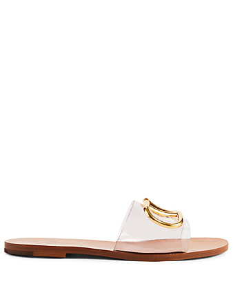 VALENTINO GARAVANI PVC Slide Sandals With V-Logo Women's Brown