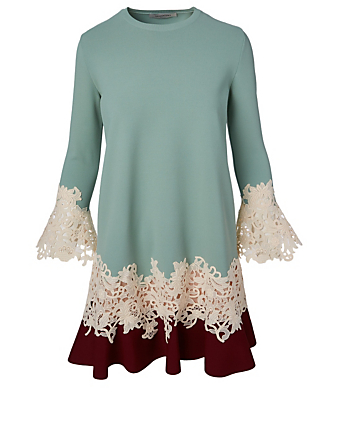 VALENTINO Macramé Blossom Long Sleeve Dress Women's Multi