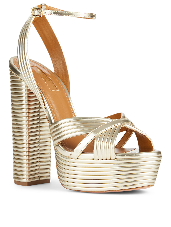 b5c47bd497f ... AQUAZZURA Metallic Sundance Plateau Platform Sandals Womens Gold ...