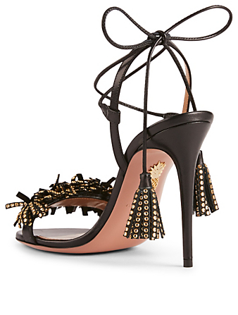 AQUAZZURA Wild Crystal Leather Sandals Womens Black