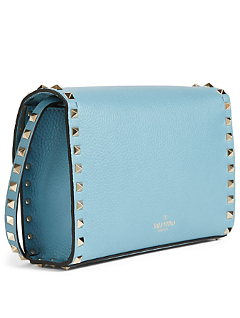 VALENTINO GARAVANI Medium Rockstud Leather Crossbody Bag Designers Blue