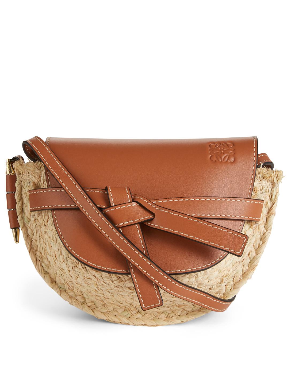 100459aa8 LOEWE Mini Gate Leather And Raffia Bag Women's Neutral ...