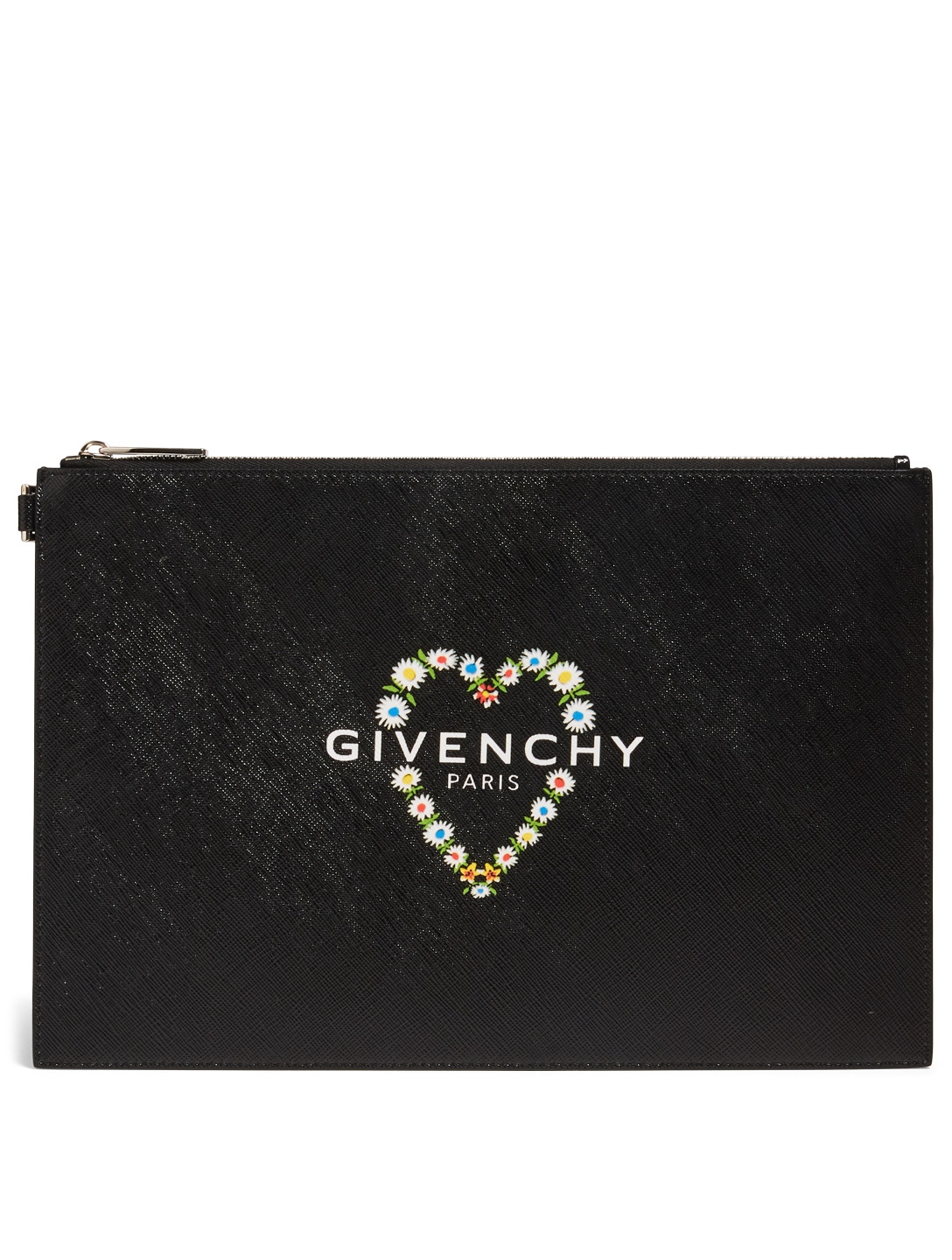 GIVENCHY Floral Heart Coated Canvas Pouch Women's Black