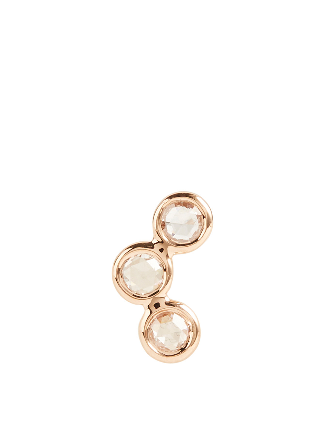 LITO 3D 18K Rose Gold Curved Earring With Diamonds Women's Metallic